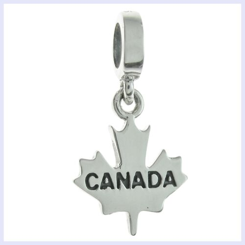 Sterling Silver Canada Maple Leaf Dangle Travel Bead for European Charm Bracelet