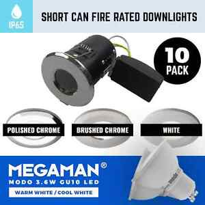 10 X SHORT CAN FIRE RATED BATHROOM GU10 DOWNLIGHTS SMALL ...