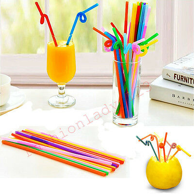 100pcs Flexible Plastic Bendy Mixed Colours Party Disposable Drinking Straws NEW