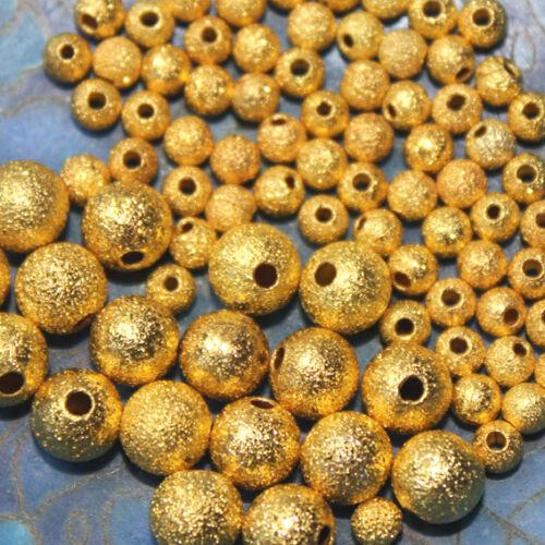 granitées stardust 2 tailles 10 PERLES MÉTAL 3 et 6 MM DORE