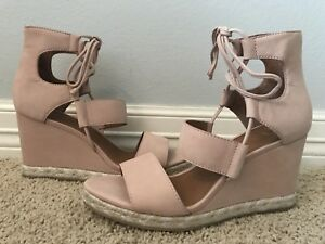 678787a86b New FRYE Women's Roberta Ghillie Blush Leather Wedge Sandals Sz 10 ...