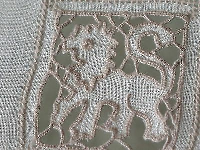 Vtg Antique Needle Lace Placemat Tray Cloth Napkin Set 3 pc Linen Drawnwork