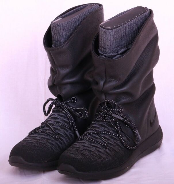 sports shoes 7f13d 97d8f Womens Nike Roshe Two Hi Flyknit Black  Dark Grey 861708 001 Size 7 - 8.5