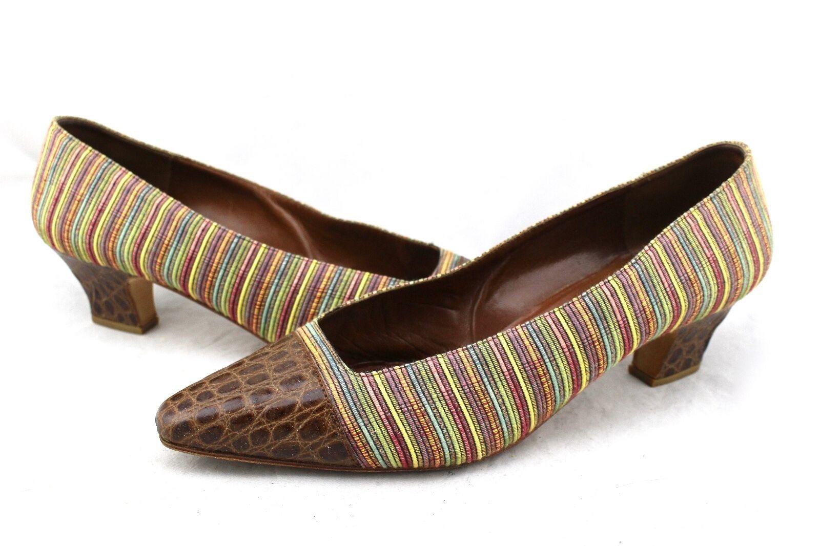 215 PUPI D'ANGIERI Vintage braun Croc Leather Multi-Farbe Stripe Fabric Pumps