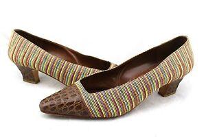 PUPI D'ANGIERI Vintage Brown Croc Leather Multi-Color Stripe Fabric Pumps