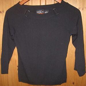 New-York-City-Design-Co-Knit-Crop-Ribbed-Top-3-4-Sleeve-Shirt-Black-Small-Medium