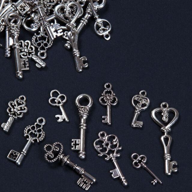 ANHÄNGER Charms Farbe Antik Silber Schlüssel MIX 10 20 50 oder 100 STEAMPUNK