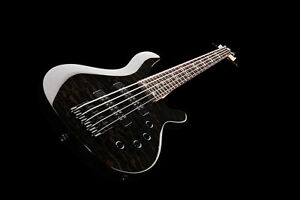 NEW-5-String-Electric-Bass-Guitar-With-Active-Pick-ups-Quilted-Black