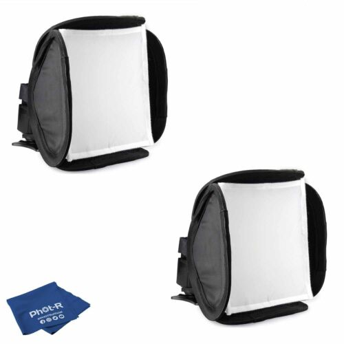 Phot-R 2x 23cm Mini Portable Folding Softbox Diffuser Flashguns Microfibre Cloth