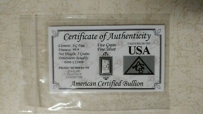Fine Silver Bar 5 Grain COA Card Collection Great Birthday Invest USA Gift Idea