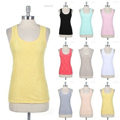 Front Full Floral Lace Overlay Sleeveless Tank Top Racerback Cute Cotton Spandex