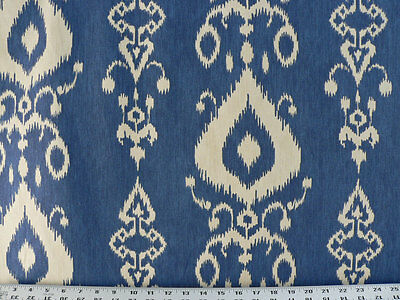 Drapery Upholstery Fabric 100% Cotton Ikat - Ivory Beige on Lake Blue