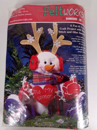 Dimensions Feltworks Kit 8129 Snowflake Play Snowman Hearts Christmas Holiday