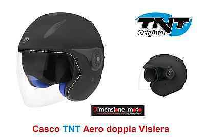 Casco Jet doppia Visiera TNT AERO colore Nero Opaco interni Blu Taglia L 60 cm