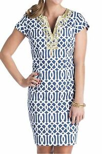 New-Mud-pie-Navy-Blue-White-Gold-Embroidered-Shift-Dress-XS-0-2-Cocktail-Career