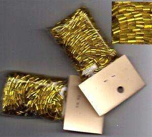 Czech-Glass-Gold-Bugle-Beads-Silver-Lined
