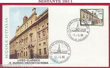 ITALIA FDC FILAGRANO LICEO GINNASIO STATALE E. Q. VISCONTI ROMA 1988 TORINO Z259