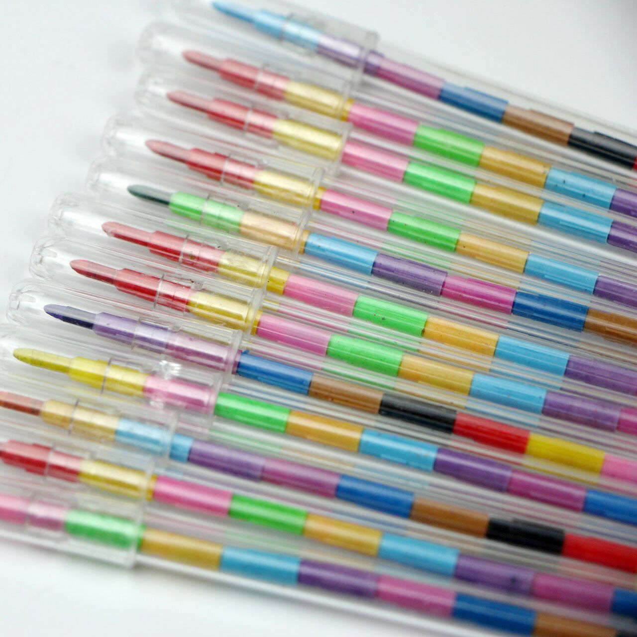 12x Swap Point Stacker Crayon Colouring Pencils Birthday Party Toy Bag Fillers