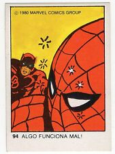 1980 Spanish Marvel Comics Superhero Terrabusi Trade Card 94 Spiderman Daredevil