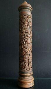Porte-encens-brule-parfum-bois-dragon-Chinois-Old-chinese-wooden-censer-XIX