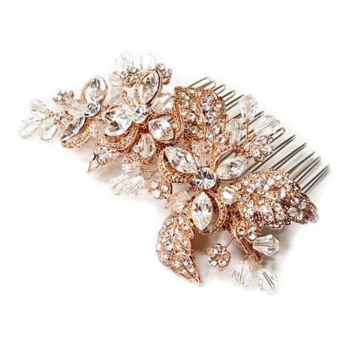 Rose Gold Vintage Inspired Rhinestone Crystal Leaf Bridal Wedding Hair Comb