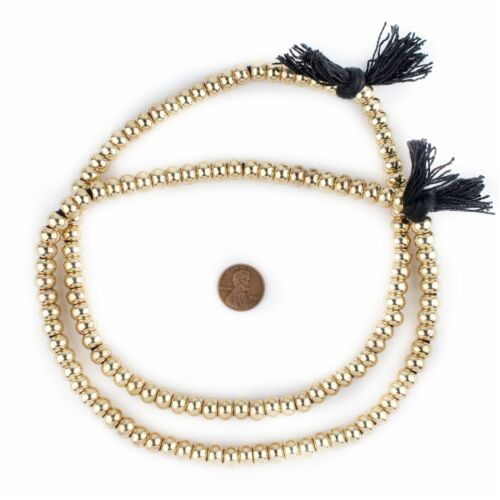 Smooth Gold Padre Beads 9mm Round Brass Large Hole 16 Inch Strand