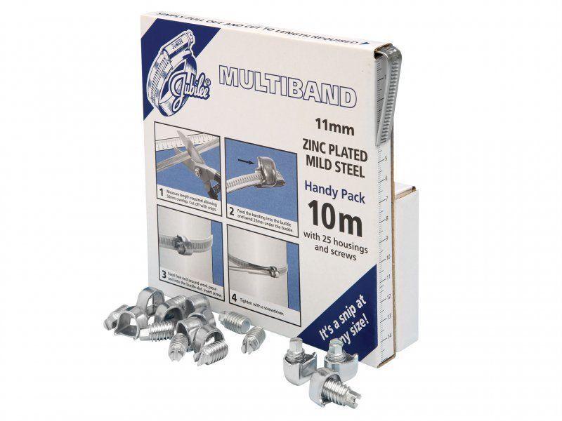 (Jubilee®) Multiband Mild Steel Handy Pack Kit 11mm (10m + 25 Housings/Screws)