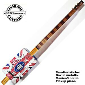 Mon ChéRi Cigar Box Guitar London , 3 Corde, Pick-up Piezoelettrico Tastiera Slide.