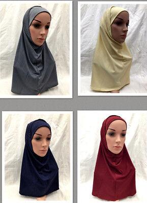 2 Piece Hijab Two Piece Bonnet New Muslim Islamic Women's Ladies Plain