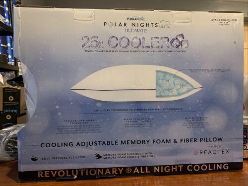 Therapedic Polar Nights 25x Cooling Memory Foam Standard//Queen Pillow Open Box