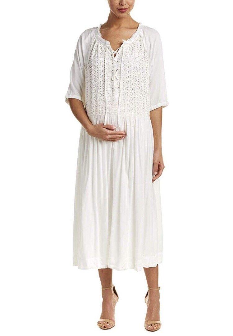 HATCH Maternity THE ROMY DRESS Soft White Pleated Eyelet Lace-up Size O S NEW