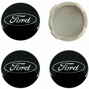 Schwarz-Ford-4-x-54mm-Alufelge-Nabenkappen-Nabendeckel-Satz