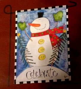 Enchanted Forest Christmas Snowman Welcome Garden Flag 12 5 X18 New Ebay