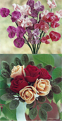 WIRED SWEET PEAS ROSES CROCHET FLOWERS  KNITTING PATTERNS    (68)