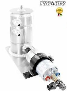 Bosch-044-Fuel-Pump-Swirl-Pot-Tank-Assembly-AN-6-Teflon-Banjo-Outlet-In-Black