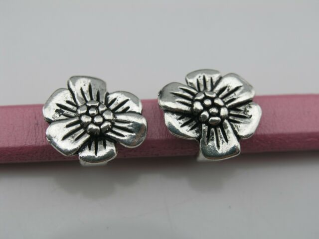 10pcs Anti-Silver 10.4x6.4mm Flower Slider Spacer For Licorice Leather--PAT185