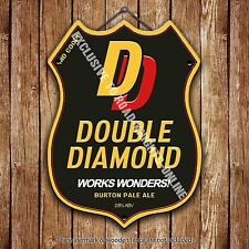 Ind Coope Double Diamond Beer Advertising Pub Metal Pump Badge Shield Steel Sign