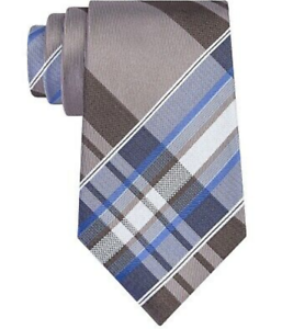 Kenneth Cole Reaction Mens Taupe Blue Plaid Slim Neck Tie 100/% Silk NWT $60 Gift