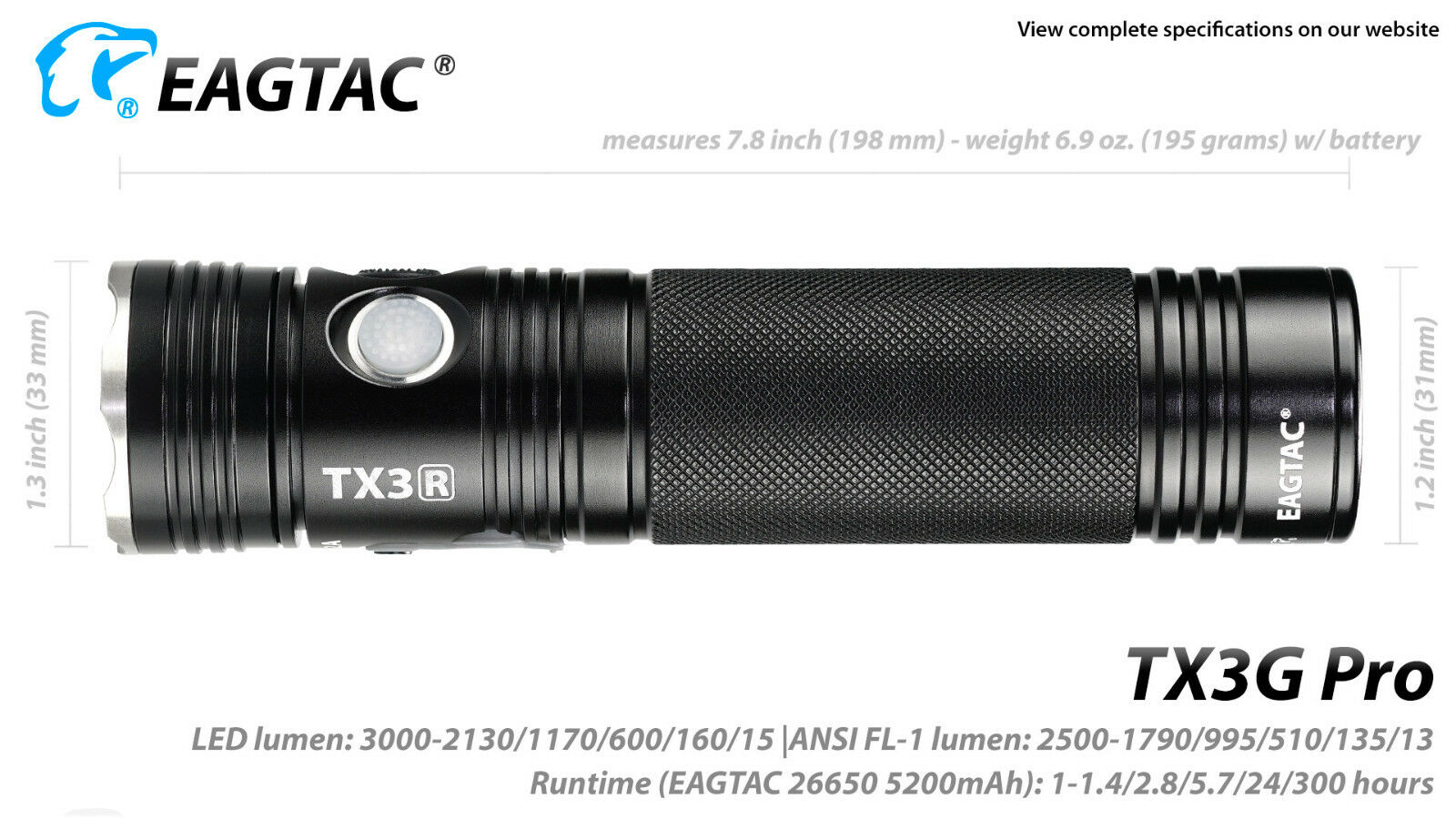 Eagletac TX3G Pro Rechargeable XHP70.2 XHP70.2 XHP70.2 LED Flashlight -2800Lm -Neutral Weiß 3b4a2a