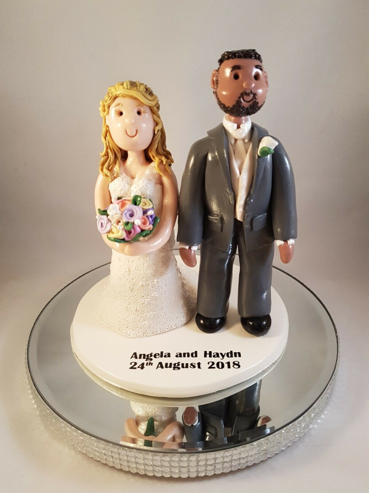 Personalised wedding cake topper Mariée et marié, Unique Fait Main Argile Keepsake