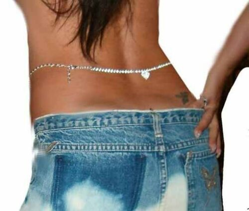 Rhinestone Heart Charm Pendant Belt Belly Waist Chain Drop Down Back or Front