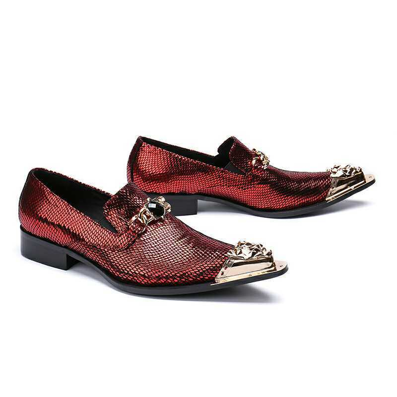 Youth Mens Metal Head Pointy Toe Slip On Loafers Youther Party Leather shoes 134