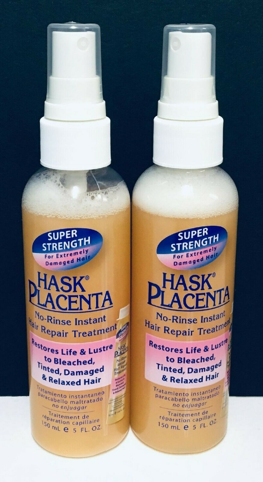 Hask Placenta No Rinse Instant Hair Repair Treatment Super Strength 2pack 5floz For Sale Online