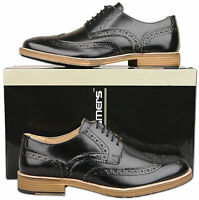 Mens New Lace Up Black Leather Formal Brogues Shoes Sizes 6 7 8 9 10 11 12