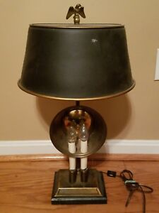 Brass Finish 2 Candle 4 Bulb Table Lamp Black Metal Tole Mesh Shade