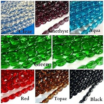 Bicone Teardrop 30 Strings Glass Beads Assorted Colours Size 6-14mm Twisted
