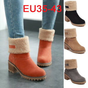 Winter-Womens-Suede-Warm-Snow-Martin-Boots-Fur-Thicken-Mid-Calf-Ankle-Shoes-Size