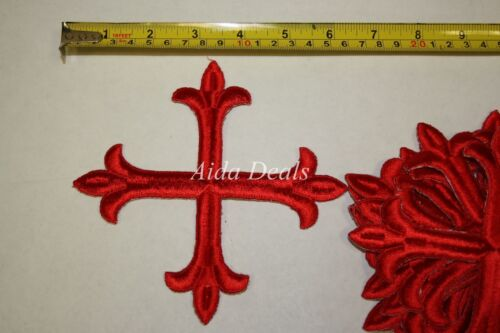 "12 pcs Iron Embroidered Religious Patch Red Cross 5""12 x5""12 Design #0020"
