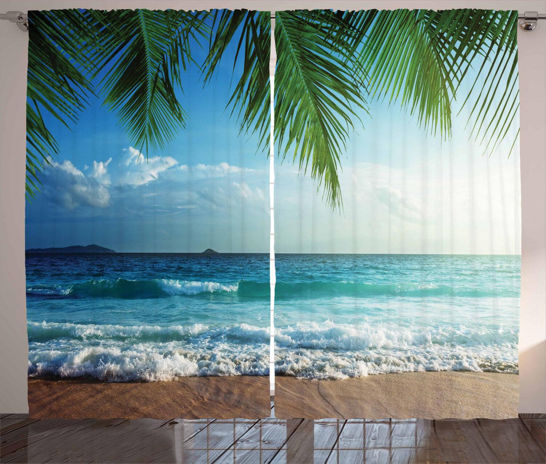 Palmas árboles Océano Colorido Salón Cortinas 2 paneles Set 108x90 pulgadas
