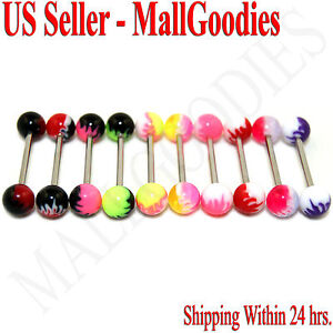 W036-Acrylic-Tongue-Rings-Barbells-Bar-Flames-LOT-of-10